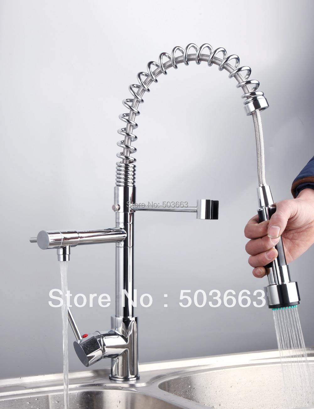 Newly Free Wholesale Retail Chrome Brass Water Kitchen Faucet Swivel Spout Pull Out Vessel Sink Single Handle Mixer Tap MF-266 double handles free chrome brass water kitchen faucet swivel spout pull out vessel sink single handle mixer tap mf 268