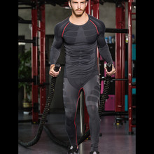 Winter 2018 Men High Elastic muscle Base layers thermal underwear set Fitness Bodybuilding long johns Compression Clothing set