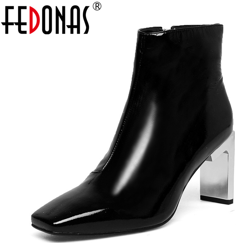 7a60a8d6c1 FEDONAS 1Fashion Women Ankle Boots Genuine Leather Autumn Winter Warm High  Heels Shoes Woman Concise Zipper Brand Chelsea Boots