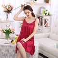 2017 new brand women sexy suspender nightdress deep v lace satin sleepwear nightgown european and american sexy linge