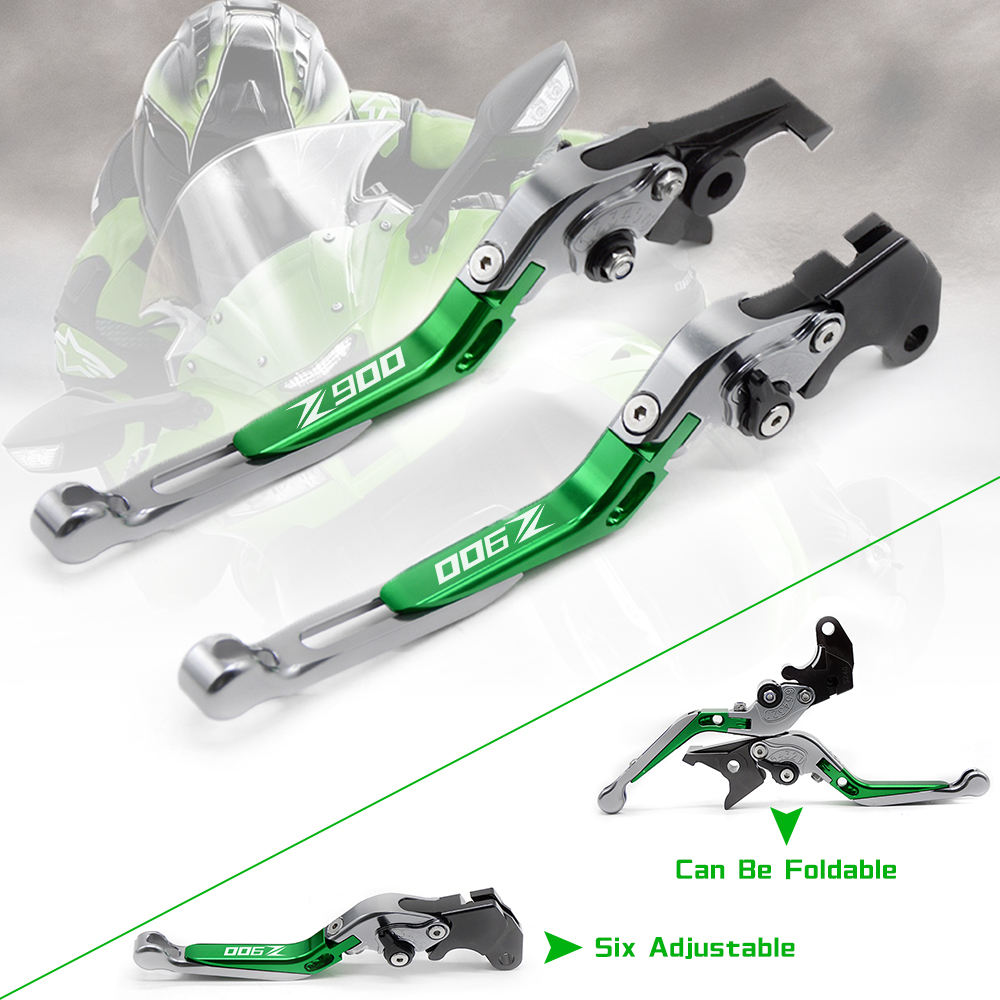 For Kawasaki Z900 2017 Motorcycle Clutch Brake Lever CNC Aluminum Adjustable Extendable Motorbike Brake Clutch Z900 LOGO Lever ad motor bike z900 2017 2018 clutch brake levers adjust lever moto parts for kawasaki z 900 17 18 motorcycle accessories