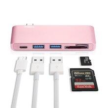 """USB3.0 Тип-C Hub5 в 1 алюминиевый USB3.0 адаптер с PD-Мощность высокое Скорость/2USB 3.0/ TF SD Card Reader for12 """"MacBook Pro 2015/2016"""