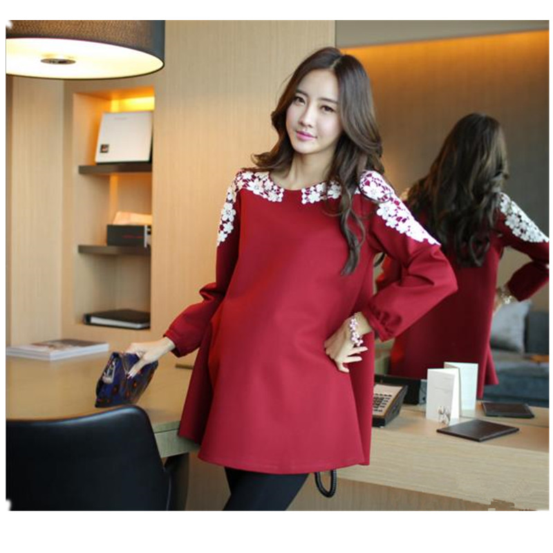 2017 New Maternity Clothes Spring Coat Long Sleeve Spring Autumn  Dress For Pregnant Women Big Yard Maternity Clothing B0016