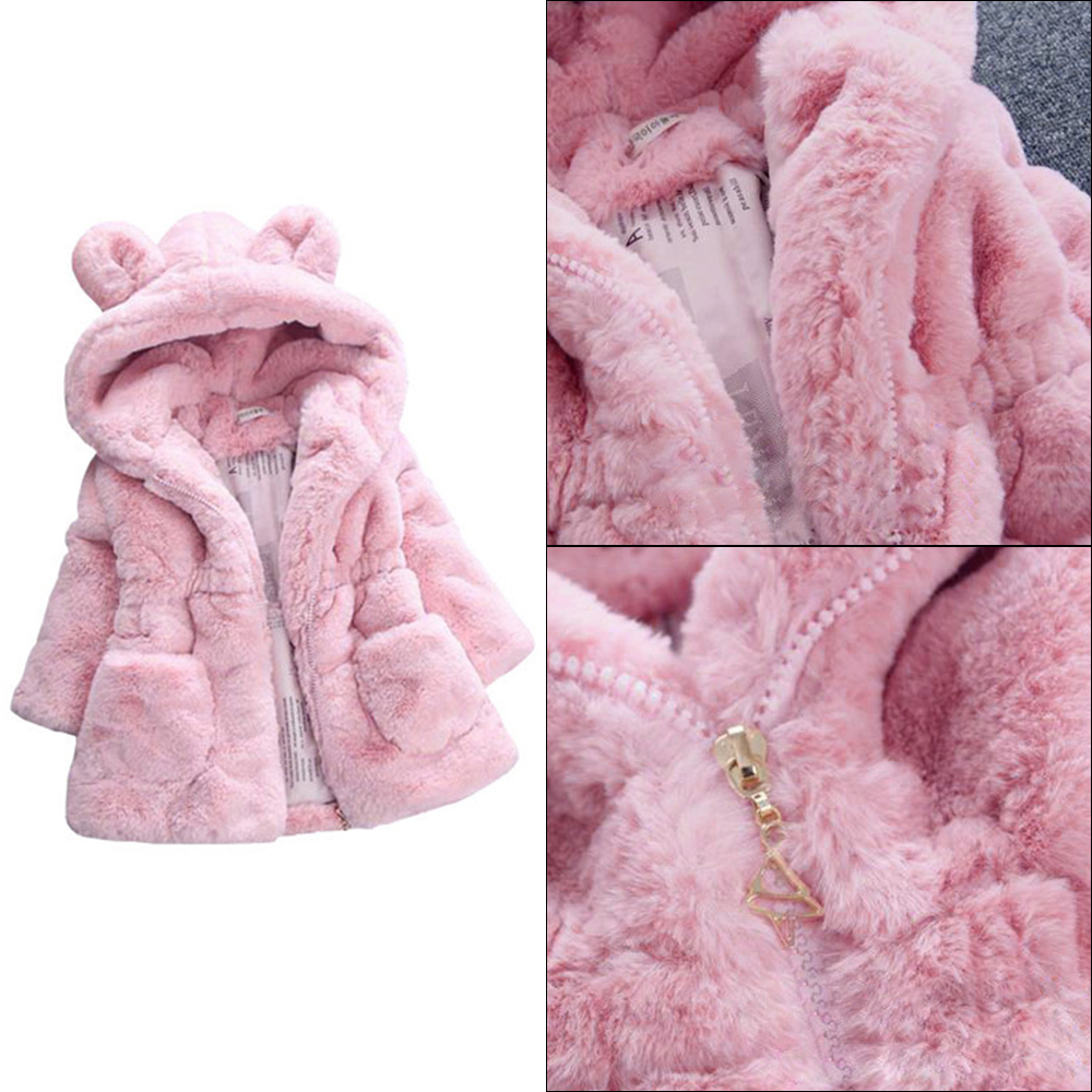 Baby Kids Clothes 2018 Thicken Warm Faux Fur Fleece Snowsuit Outerwear Xmas Children Hooded Cheap Coats Winter Jacket For Girls