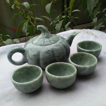 China handmade jade carving natural  jade Kungfu teapots and bowls in China A