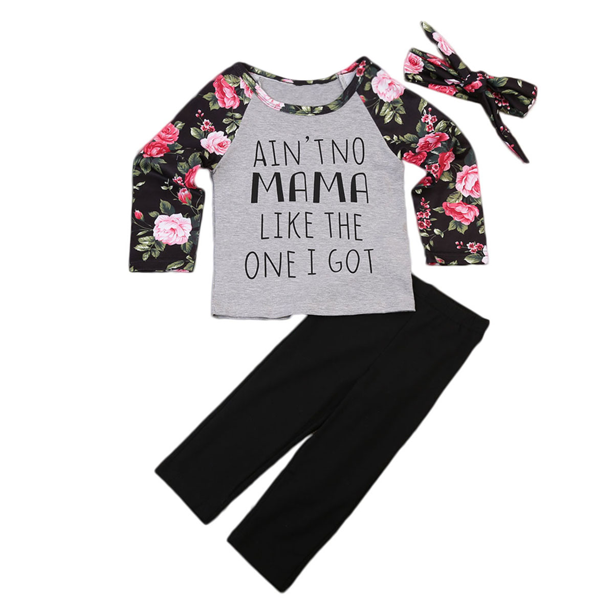2017 New Brand Toddler Kids Baby Girls Outfit Floral Tops Long Sleeve T-shirt Pants Hairband 3PCS Casual Autumn Clothes 1-6T mother daughter coffee color trumpet sleeve long t shirt family clothes toddler girls autumn o neck tops mom son fashion t shirt