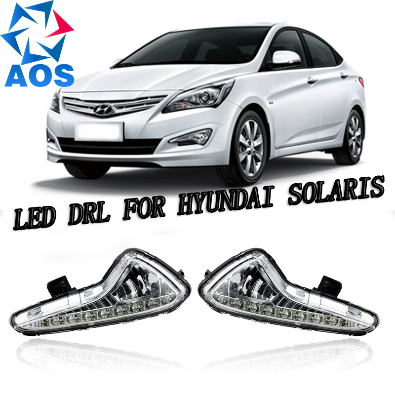 2PCs/set car styling LED Car DRL Daytime Running Lights car drl light set for Hyundai Accent  VERNA Solaris 2014 2015 accent verna solaris for hyundai led tail lamp 2011 2013 year red color yz