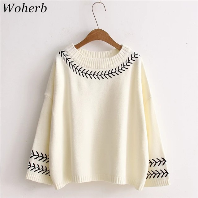 Woherb Japanese Vintage Fashion Women Sweaters 2018 Autumn Winter  Embroidery Pullovers Preppy Style Knitted Sweater 73441