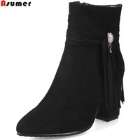 ASUMER Plus Size 34 46 Fahsion Women Boots Pointed Toe Zipper Flock Ladies Autumn Winter Boots