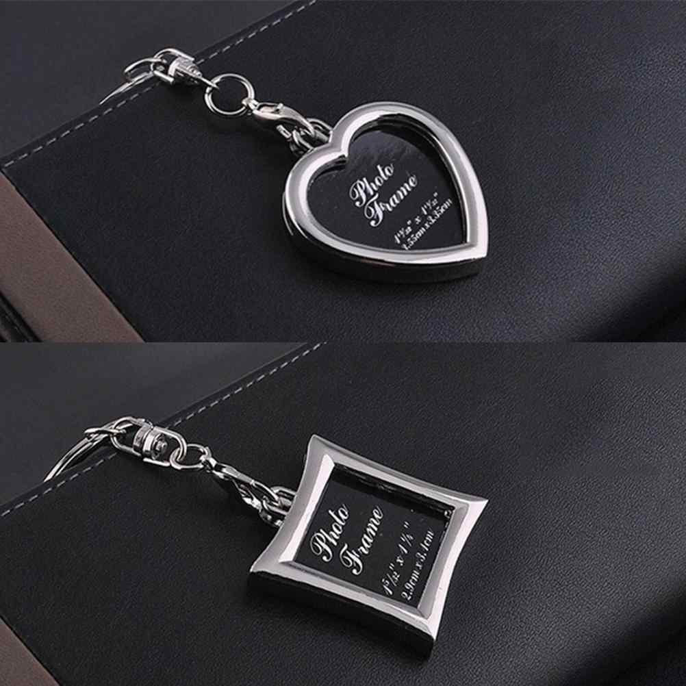 1 Piece Trendy Key Chains Transparent Clear Insert Photo Picture Frame Key Ring Chain Keychain style approx 3.8*3.8cm/1.5*1.5in
