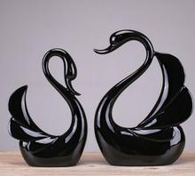 black crafts modern home decorations wedding gifts ornaments couple swans Animal statues accessories escultura decor gift