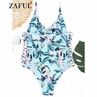 ZAFUL 2018 New One Piece Swimwear Women Plant Print Strappy One Piece Swimsuit High Cut Spaghetti