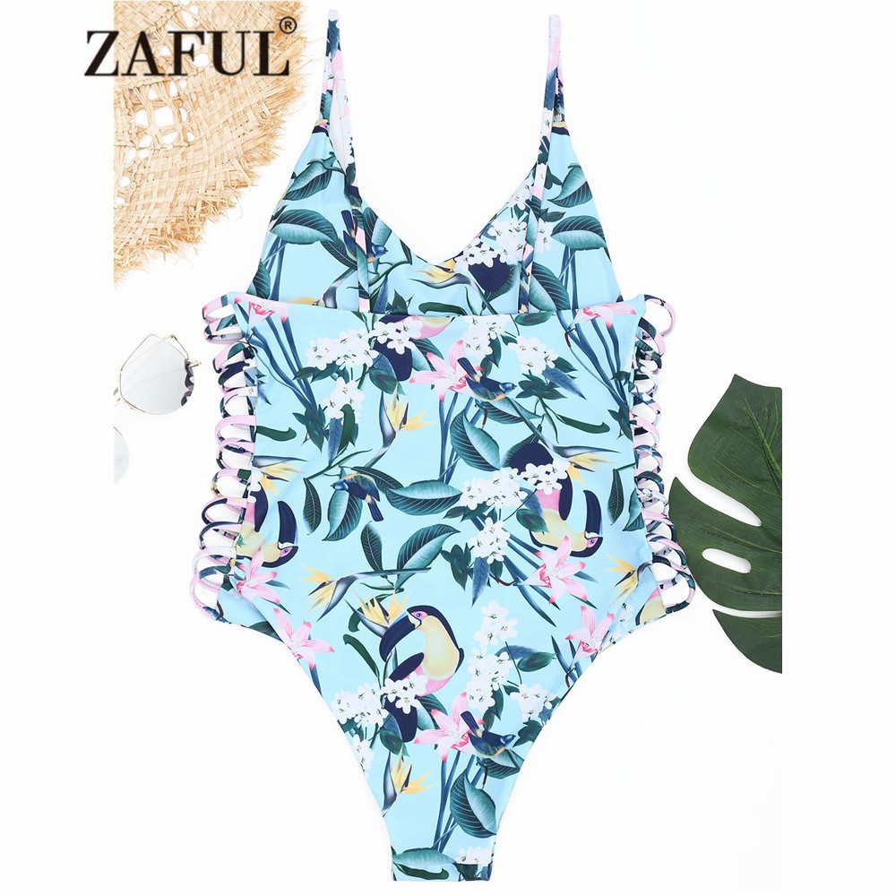 ZAFUL 2018 New One Piece Swimwear Women Plant Print Strappy One Piece Swimsuit High Cut Spaghetti Straps Bathing Suit for Women sweet spaghetti strap sleeveless floral print hollow out swimwear for women