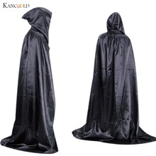 New Solid Hooded Stain Cloak Wicca Robe Witch Larp Cape Women Men Halloween Costumes Witche Vampires Fancy Party 3 Colors AU073(China)