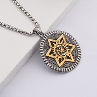 goofan Star of David Pendant Necklaces For Men Shield Design Stainless Steel Box Link Chain Personality Jewelry GiftSTN023