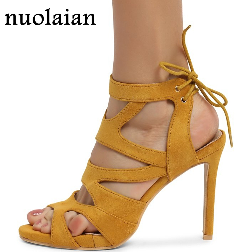 Faux Suede Leather High Heel Shoes Woman Ankle Strap Platform Pumps Womens High Heels Summer Dress Shoe 10.5CM Slingbacks Shoes цена