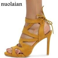 Faux Suede Leather High Heel Shoes Woman Ankle Strap Platform Pumps Womens High Heels Summer Dress Shoe 10.5CM Slingbacks Shoes