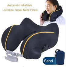 Almohada inflable automática en forma de U para viaje, almohada para el cuello, almohada inflable de aire para cuello de coche, cojín de viaje, reposacabezas plegable portátil