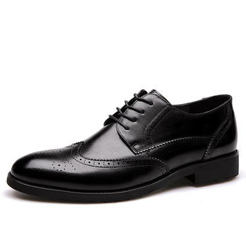 2018 Men Formal Shoe Flats Oxford Shoes For Men Oxfords Pointed Toe Lace Up Leather Dress Business Shoes Wedding Shoes luxury men s oxford shoes genuine leather handmade black brown prints lace up pointed toe wedding office formal dress men shoes