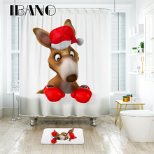 цена на IBANO kangaroo Shower Curtain Waterproof Polyester Fabric Bath Curtain For The Bathroom Decrotation For The Christmas Festival