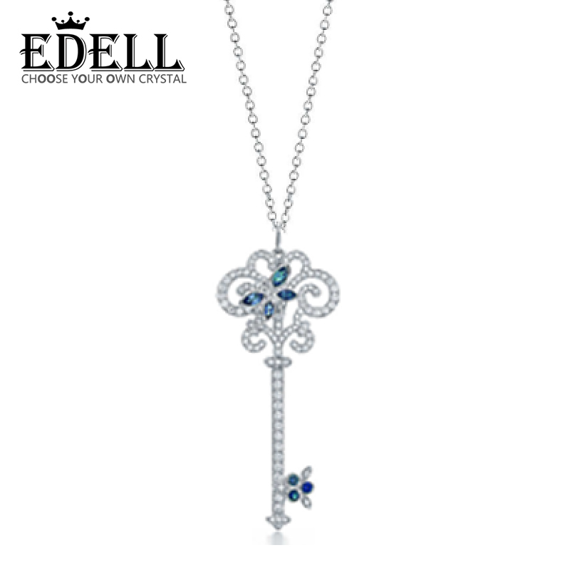 EDELL Silver Pendant Necklaces Women Genuine Pure Sterling Silver Chain Sterling Silver Pendant Long Necklace Free Package Mail