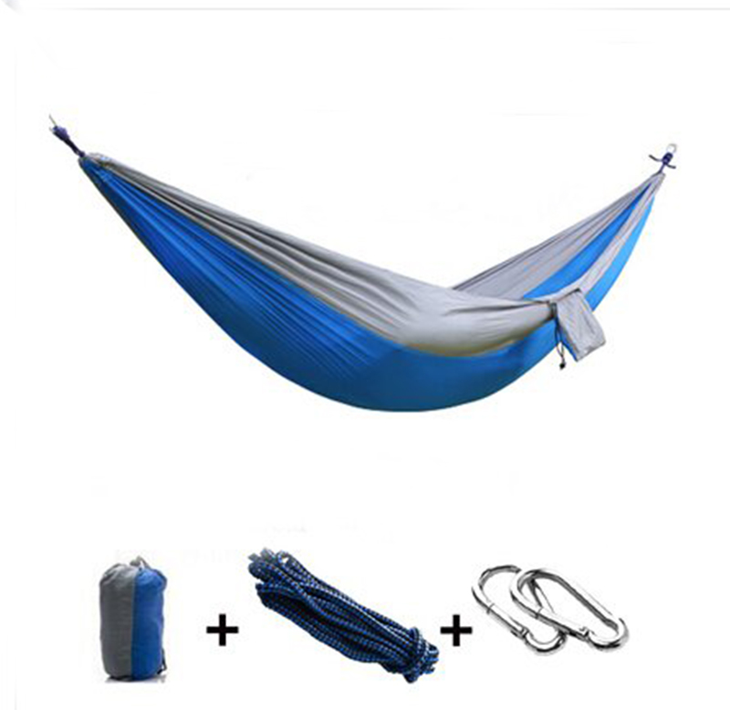New Travel Camping Outdoor Nylon Fabric Hammock Parachute Bed for Double Person furniture size hanging sleeping bed parachute nylon fabric outdoor camping hammocks double person portable hammock swing bed