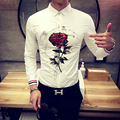 The new men's shirt printing 2017 men's fashion rose pattern Slim white shirt Designer casual long-sleeved shirt Men