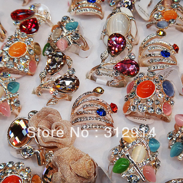 5pcs Wholesale Jewelry Lots Cubic zircon Stones Rose Gold Fashion Big Mix Style Rings Free Shipping