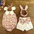 2016 Novo 100% Algodão Bebê Floral Meninas Roupas Conjunto Terno Do Bebê/Romper, Headband & Shorts/New Born Baby Girl Vestido Outerwear