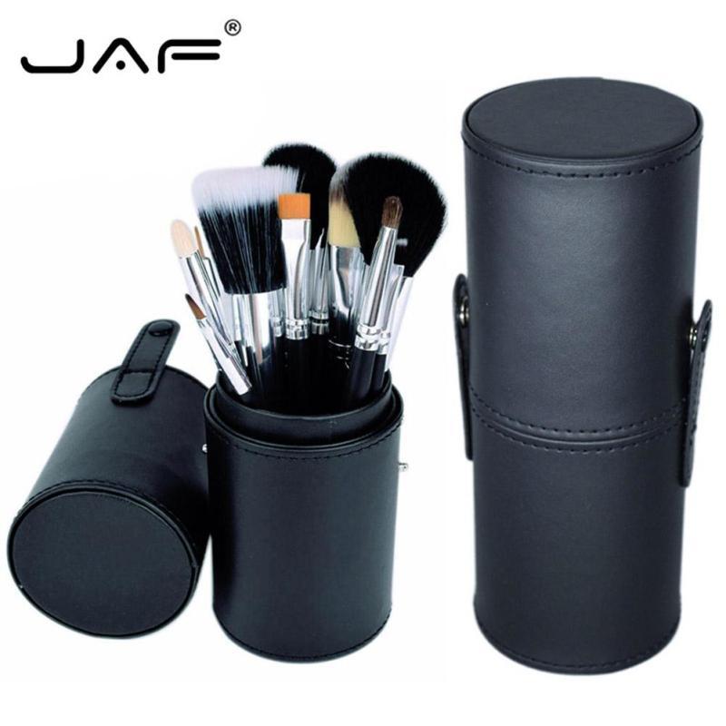 JAF 12 Pcs Makeup Brushes Kit Studio Holder Tube Portable Leather Cup Natural Hair Synthetic Fiber Maquiagem Makeup Brushes B3 dental kerr finishing polishing assorted kit occlubrush cup brushes