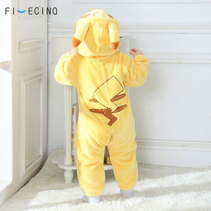Image 2 - Pika Kigurumis Baby Onesie Anime Cosplay Costume Yellow Cute Infant Pajama Flannel Warm Soft Bodysuit Winter Home Wear Fancy