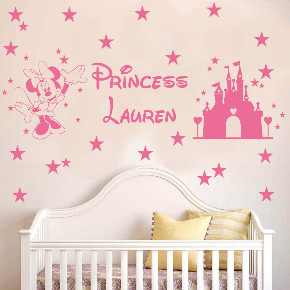 Custom Princess Name Minnie Mouse Cartoon Home Decoration Art Mural Sticker Vinyl Art Nursery room Wall Stickers Free Shipping