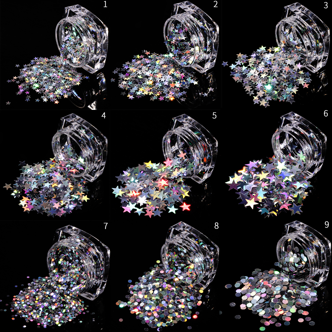 Mixed Size Star Round DIY Paillette Nails Tips Face Nail Art Decor Beauty Flakes 1g/Box 3D Silver Shinning Nail Sequin