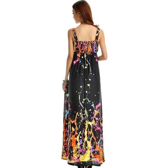 Women Summer Dress  Printed Bohemian Beach Dress Plus Size 6XL V Neck Sleeveless Long Maxi Dress Robe Femme Vestido Longo