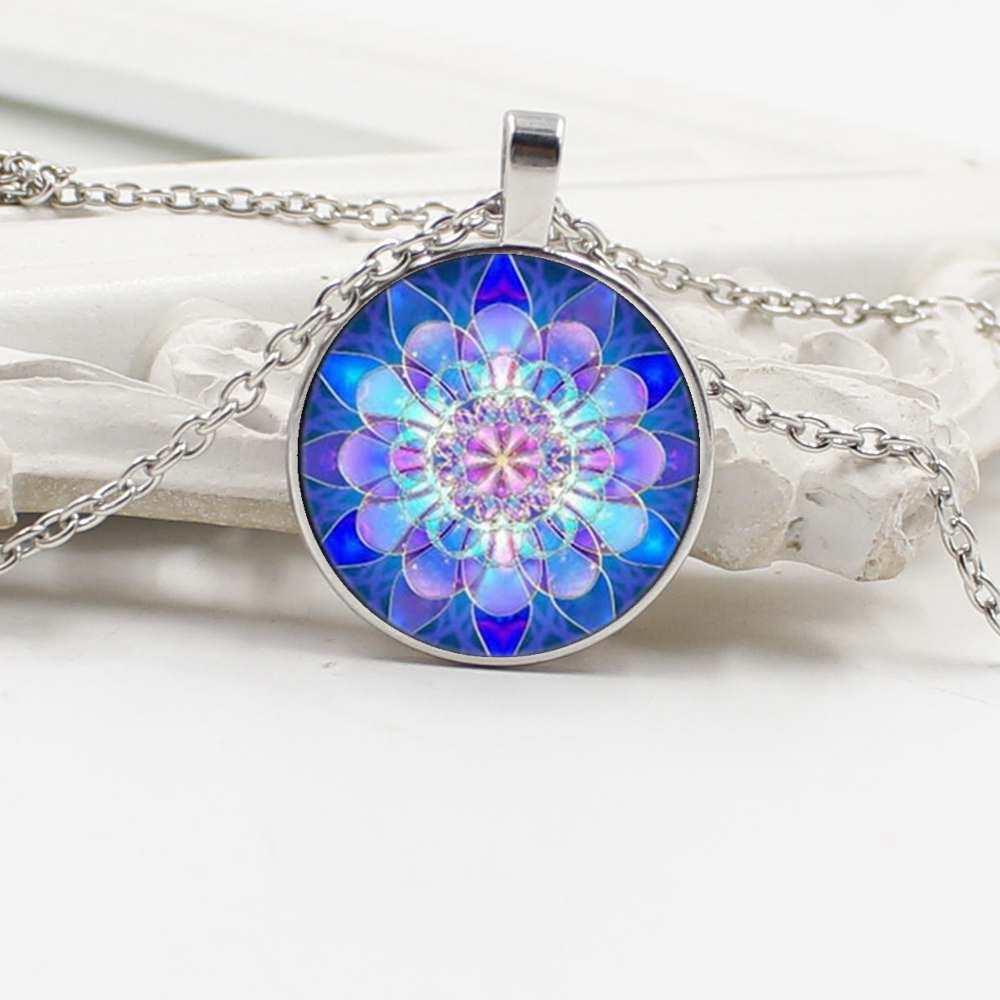 Mens necklace Hot Sale New Mandala Pendant Blue Mandala Glass Pendant Necklace.
