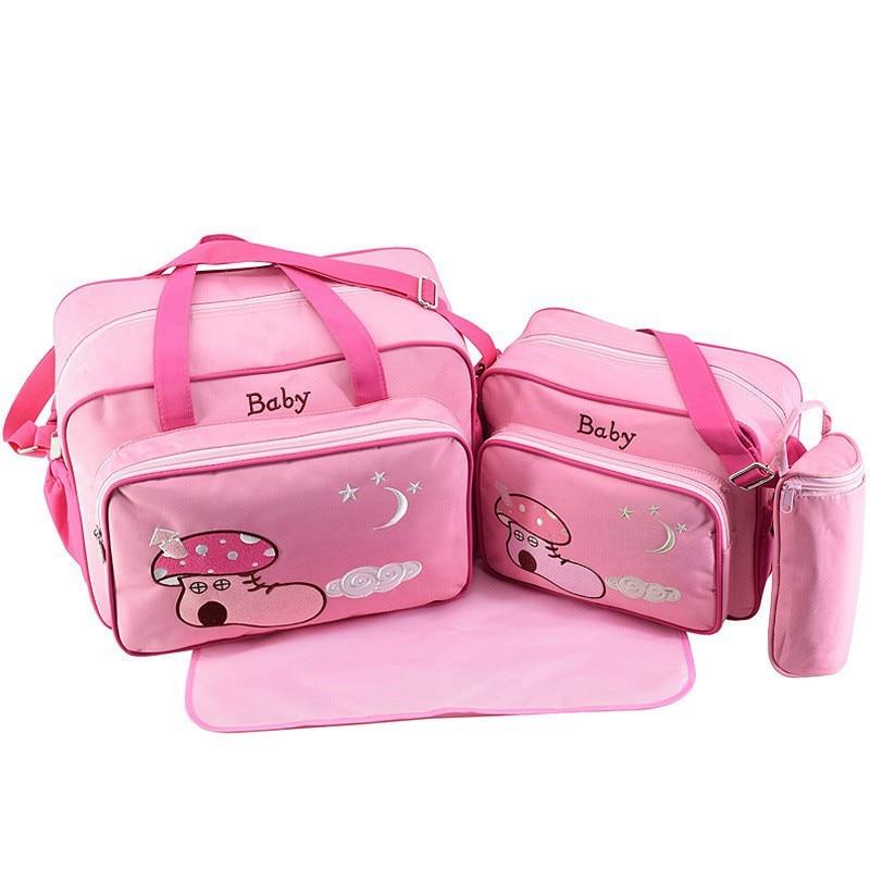 MOTOHOOD 4pcs Baby Diaper Bag Sets For Mom Maternity Baby Bag Organizer Bottle Bag + Nappy Map Cute Shoes Printing Nappy Bag (3)