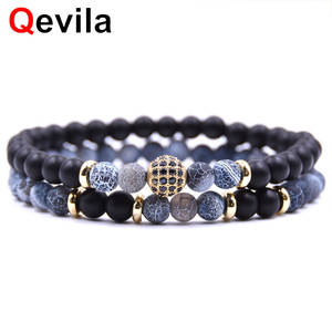 Qevila Ball Bracelet Fine-Jewelry Disco Charms Natural-Stone 8mm CZ Men for Women Viking