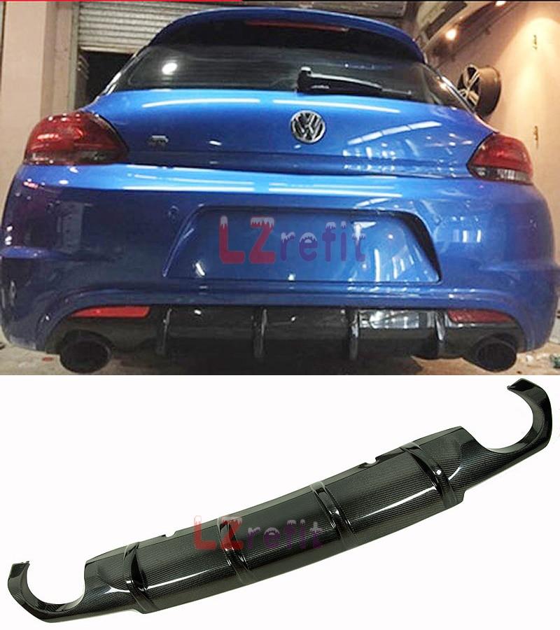 Carbon Fiber Rear Lip Bumper Bar Diffuser Fit For VW Scirocco R Bumper 2009 2014