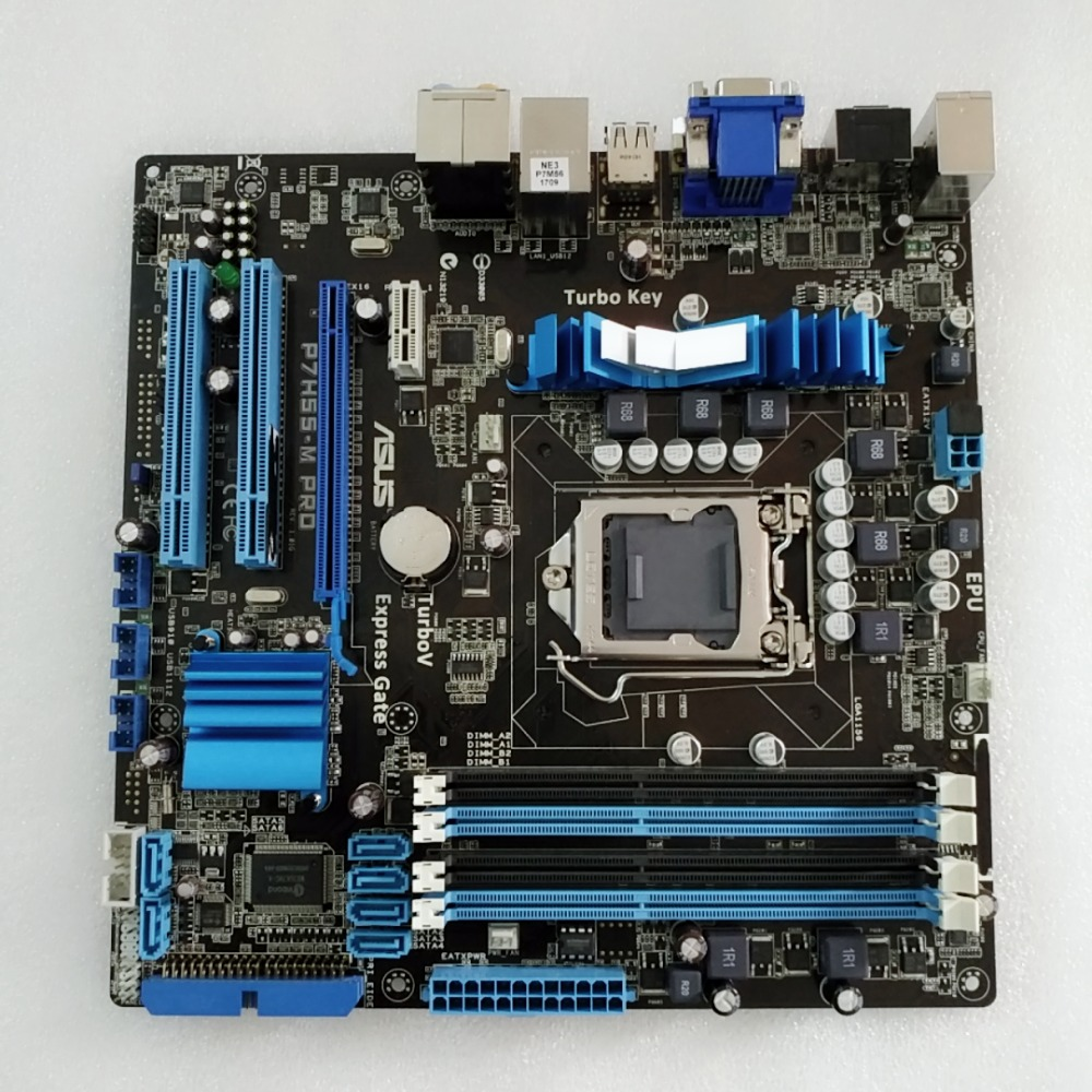 Original Motherboard For ASUS P7H55-M Pro DDR3 LGA 1156 Boards H55 Desktop Motherborad