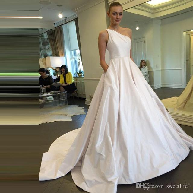 2017 Elegant Wedding Dresses One Shoulder Satin Simple Bridal Gowns With Pockets Coutry Style
