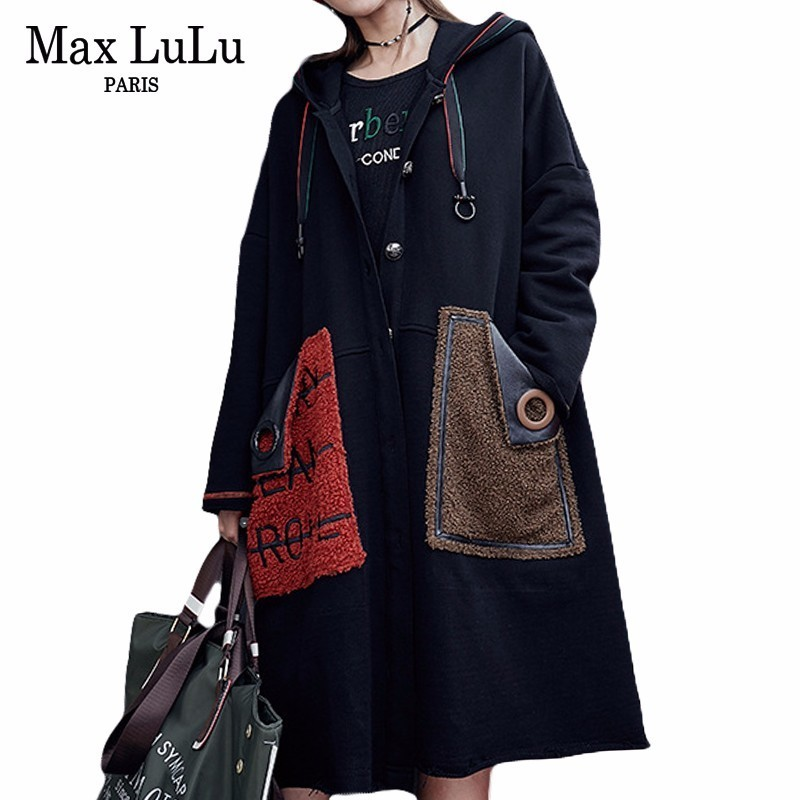 Max LuLu Fashion Korean Fur Pockets Roupas Ladies Black Overcoat Women Punk Vintage Long   Trench   Coat Hooded Woman Winter Clothes