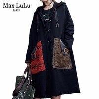 Max LuLu Fashion Korean Fur Pockets Roupas Ladies Black Overcoat Women Punk Vintage Long Trench Coat Hooded Woman Winter Clothes
