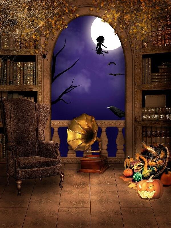 allenjoy 300cm600cm10x20ft halloween backdrop sofa phonograph pumpkin background zjchina - Halloween Backdrop