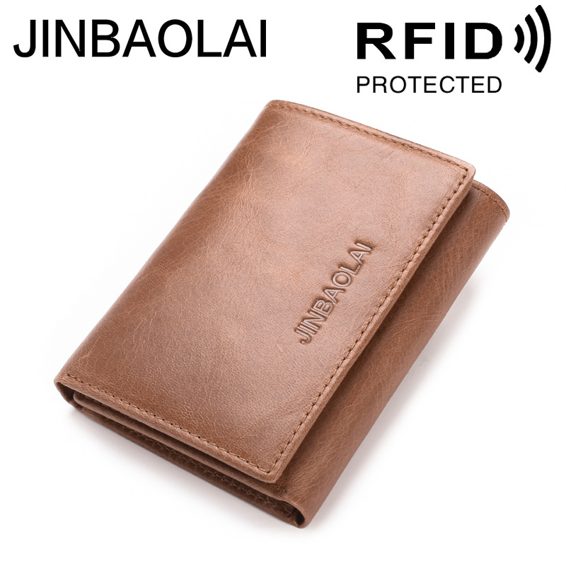 Genuine Leather Men Wallet with Double ID Window Trifold Hasp RFID Blocking Credit Card Holder Coin Purse 100% genuine leather men s coffee wallet business credit card holder coin id purse 8011 1q