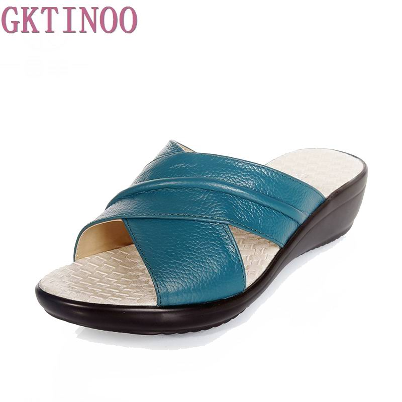 Summer Shoes Fresh Women Genuine Leather Shoes Comfortable Breathable Slippers Sandals For Women Flat Shoes 4Colors 2018 new summer casual genuine leather hollow flat shoes green black women shoes comfortable and breathable hole shoes obuv