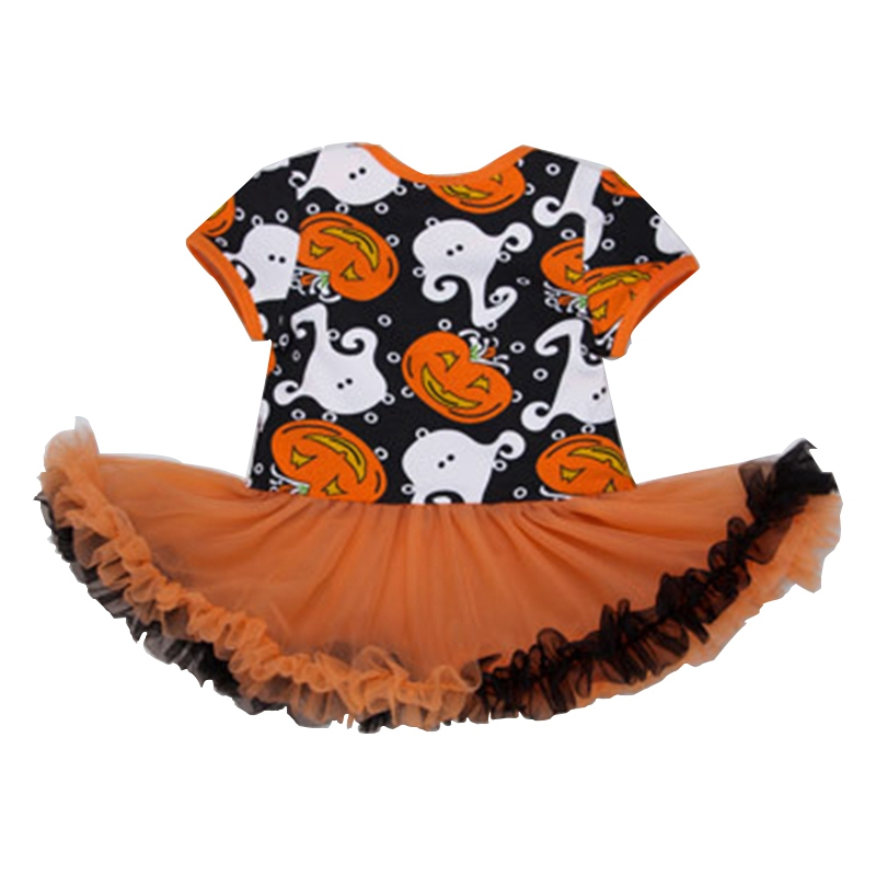 2017 Halloween Pumpkin Baby Clothes Sets Newborn Infant Boy Girl Short Sleeve Bodysuits Tutu Dres Headband shoes 3pcs Outfits