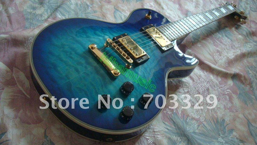 brand new oem custom electric guitar blue burst quilted top guitars mahogany body humbacker. Black Bedroom Furniture Sets. Home Design Ideas
