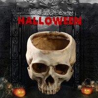 Halloween Resin Skull Ashtray Container Box Skeleton Film Shooting Props Creative Flowerpot Halloween Home Decorations Nice