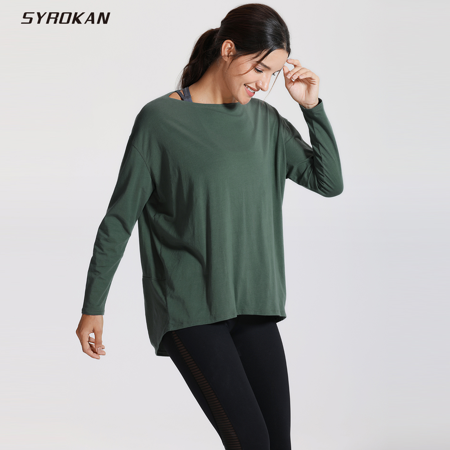 SYROKAN Women's Casual Long Sleeves Pima Cotton Workout T-shirt Sports Boat Neck Top