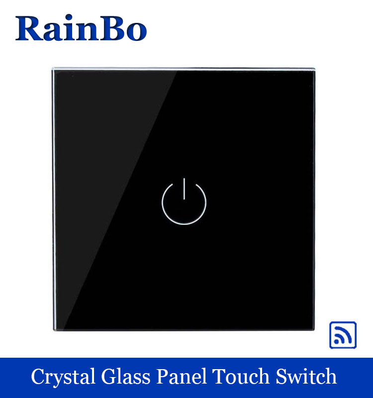 Crystal Glass Panel smart Wireless Switch EU Wall Switch 110~250V Remote Touch Switch Screen Wall Light Switch 1gang 1way Black remote wireless touch switch 1 gang 1 way crystal glass switch touch screen wall switch for smart home light free shipping